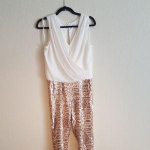 Rose Gold Sequin Pants Jumpsuit